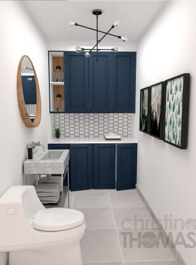 Bathroom, laundry room, farmhouse, blue cabinets, industrial lighting