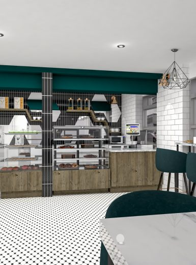 bakery design, chic bakery design, coffee shop design, green, marble, black and white
