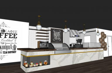 bakery design, industrial design, coffee shop design, black ceilings