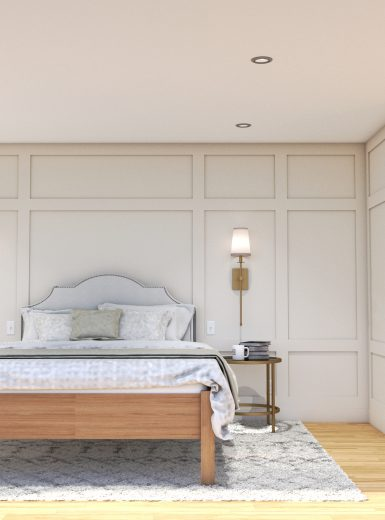 bedroom design, wainscoting, walk-in, custom furniture