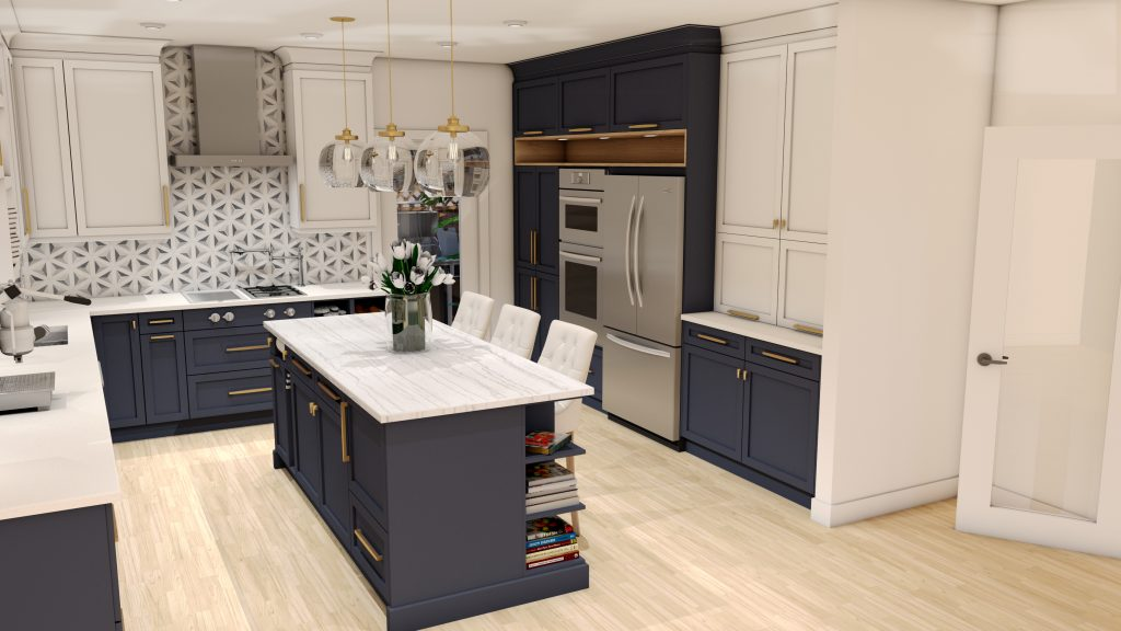 blue kitchen, pattern backsplash, granit counters, stainless hood, glass pendants, walnut finishes.modern.