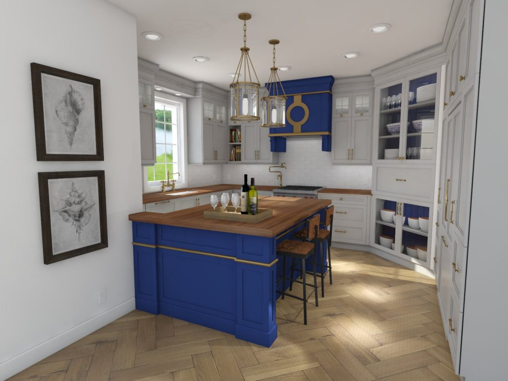 blue kitchen, wood counter tops, custom hood, glass cabinets, white cabinets