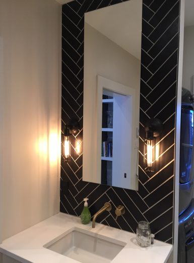 chevron tile design, heringbone tiles,brass hardware, farmhouse bathroom