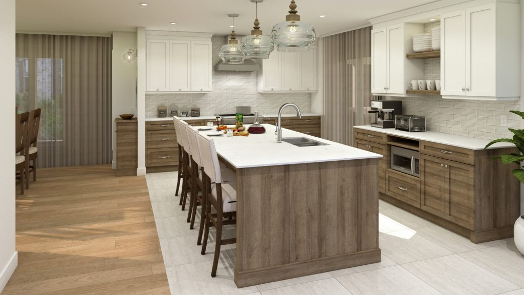 classic cabinetry, wood island, coffee station, glass pendants