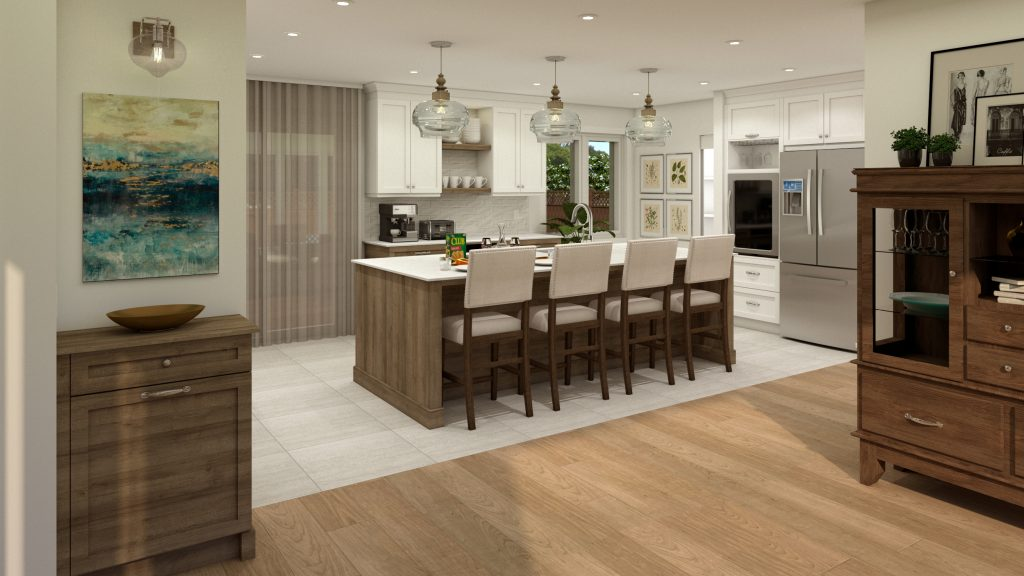 classic cabinetry, wood island, coffee station, glass pendants.jpg
