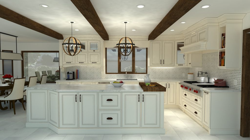 classic kitchen, beams on ceiling, butcher block, white cabinets, wood hood