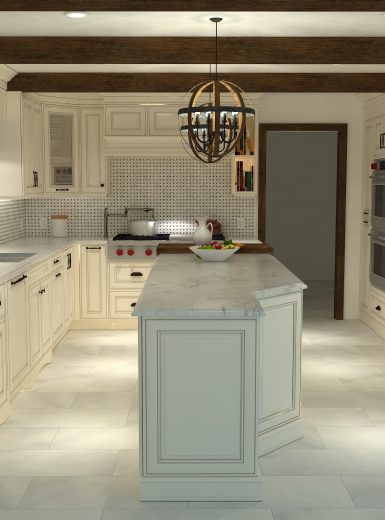 classic kitchen, white cabinets, white, marble, quartz, clear pendants, island, stone hood.j.jpg