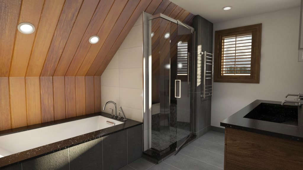 contemporary bathroom, warm bathroom, wood textures
