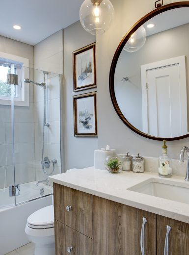 contemporary bathrooms, wood finishes, clean look bathroom, glass pendants