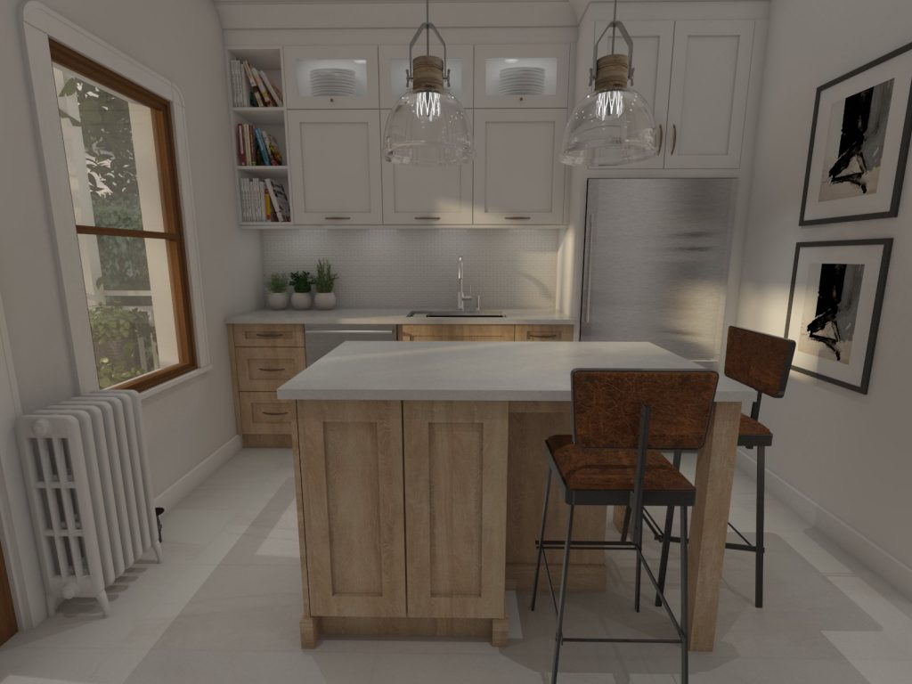 contemporary kitchen, wood finishes, light wood kitchen, subway tiles, caesarstone counters, island, stools, glass pendants, .jpg
