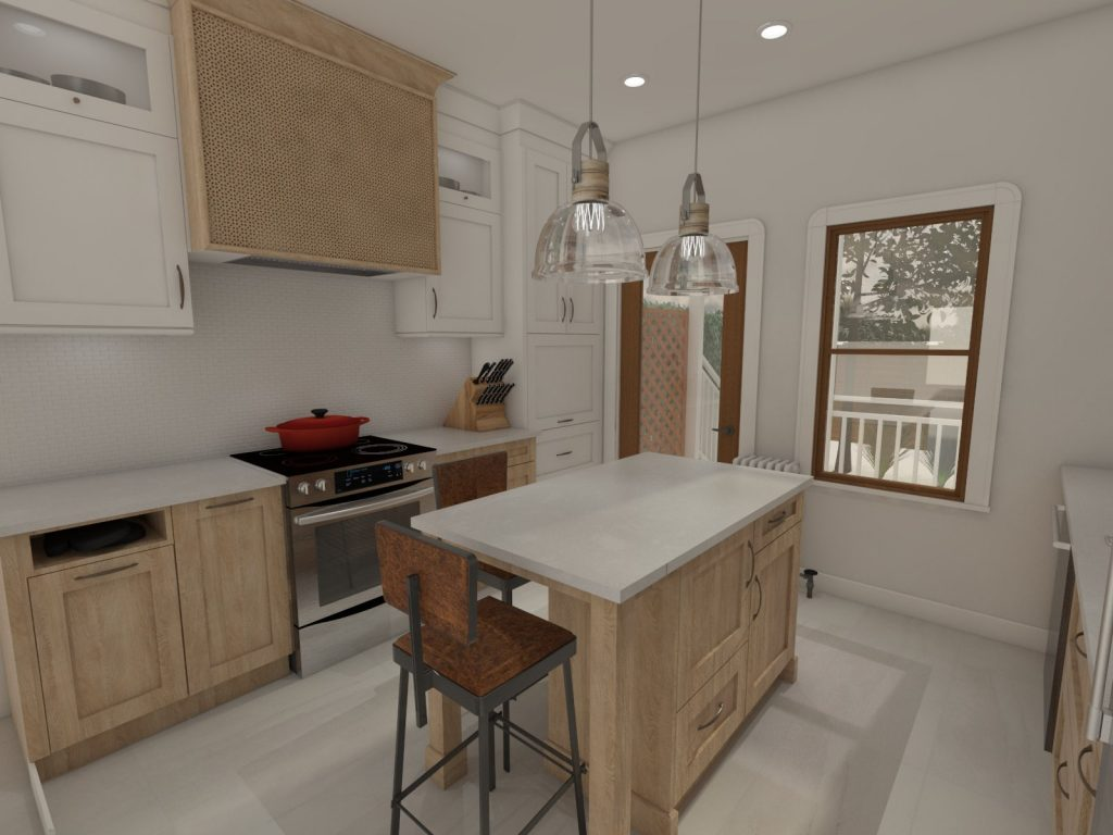 contemporary kitchen, wood finishes, light wood kitchen, subway tiles, caesarstone counters, island, stools, glass pendants, .jpg.jpg