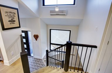 contemporary stair case, black metal staircase