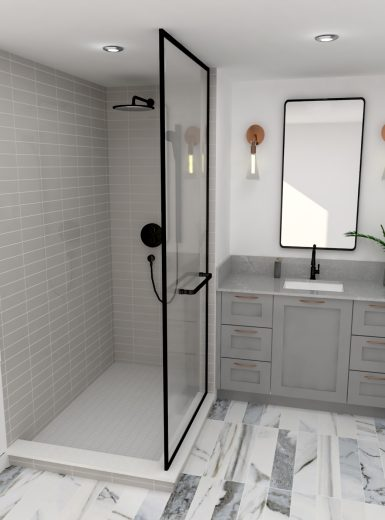 copper finishes, glam bathroom, grey design bathrooms, black hardware for showersmarble floors.jpg