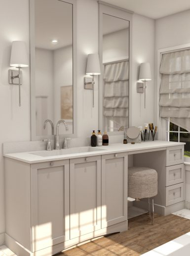 farmhouse bathroom design, glam style bathroom (1)