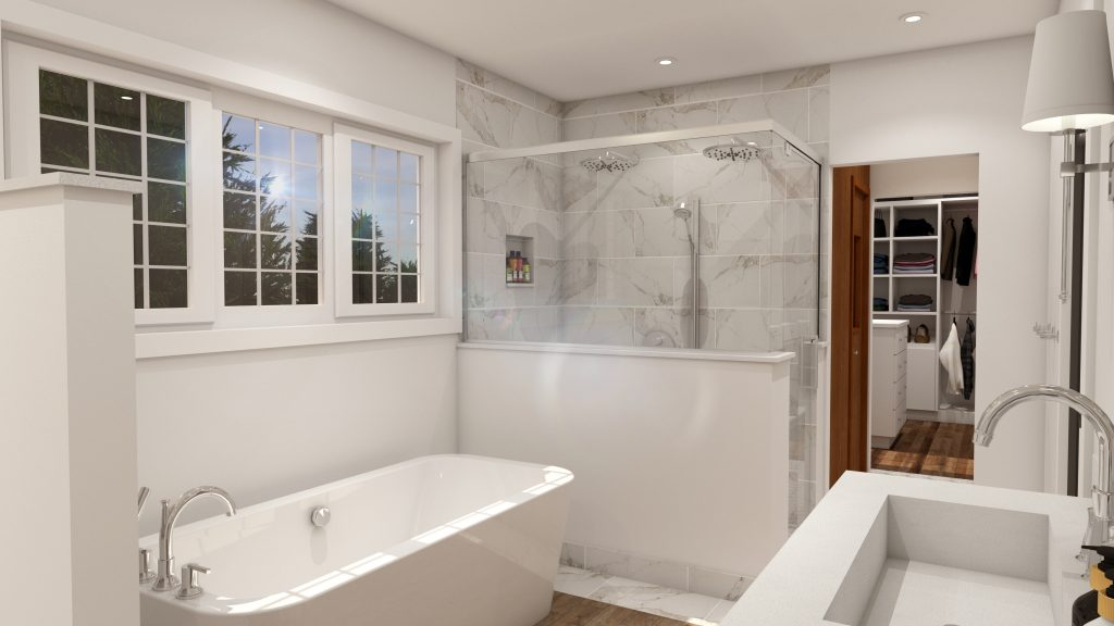farmhouse bathroom design, glam style bathroom (2)