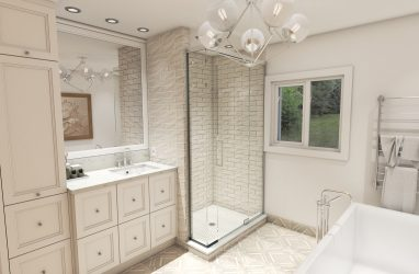 farmhouse bathroom, glam style bathroom, mosaic on floors, pattern tiles on floors, glass lighting, freestand tub,