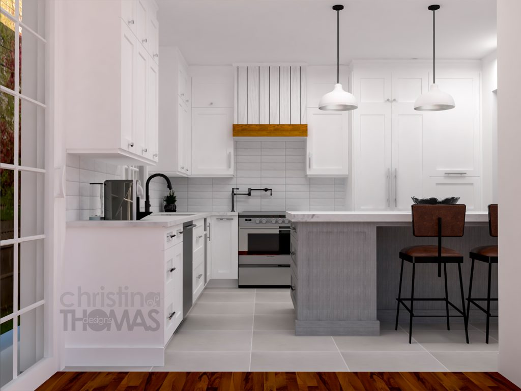 farmhouse kitchen, caesarstone counters, in kitchen, island, stools, white pendants, butcher block, subway tiles,