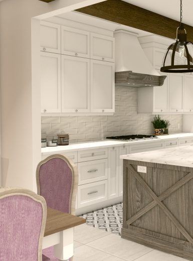 farmhouse kitchen, farmhouse sink, pattern on floor, subway tiles, caesarstone counters, island, stools, glass pendants,