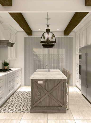 farmhouse kitchen, farmhouse sink, pattern on floor, subway tiles, caesarstone counters, island, stools, glass pendants, .jpg