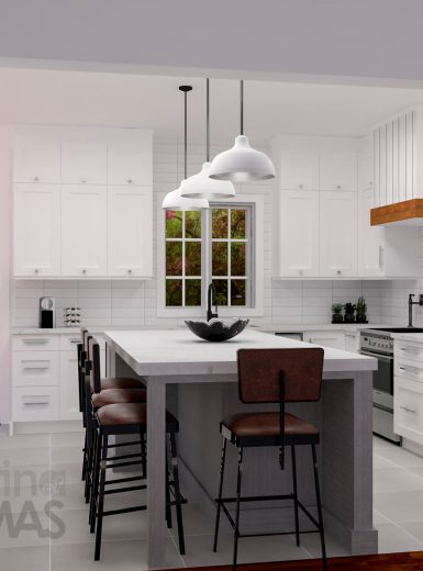farmhouse kitchen, farmhouse sink, pattern on floor, subway tiles, caesarstone counters, island, stools, metal pendants, .jpg