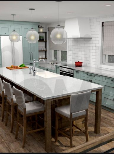 farmhouse kitchen, farmhouse sink, subway tiles, caesarstone counters, island, stools, glass pendants,
