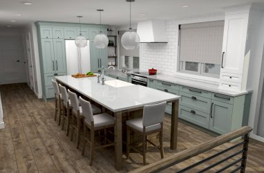 farmhouse kitchen, farmhouse sink, white cabinets, green cabinets, glass pendants, caesarstone counters, island