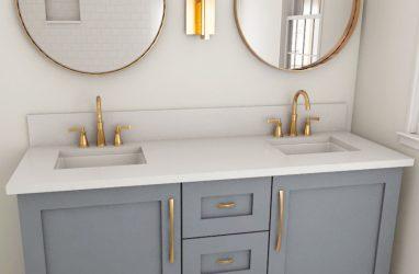farmouse bathroom, brass finishes, grey bathroom, marble