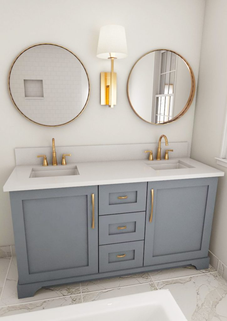 farmouse bathroom, brass finishes, grey bathroom, marble