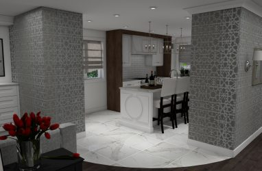 glam kitchen, modern, classic, walnut finishes, white cabinets, wallpaper, marble
