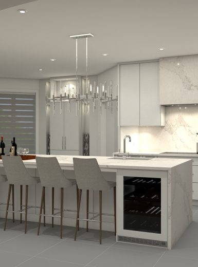 glam kitchen, modern, white, marble, quartz, clear pendants, island, stone hood