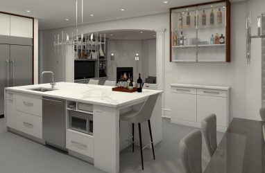 glam kitchen, modern, white, marble, quartz, clear pendants, island, stone hood.j