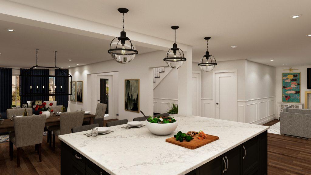 glam kitchen, modern,black cabinets, white cabinets, white, marble, quartz, clear pendants, island, stone hood.j