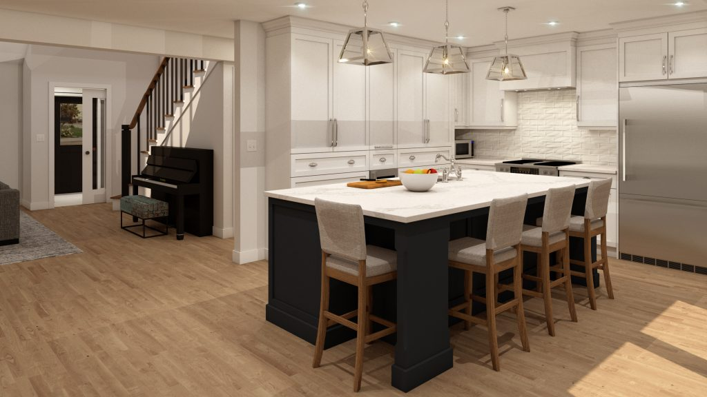 glam kitchen, modern,black cabinets, white cabinets, white, marble, quartz, clear pendants, island, stone hood.j.jpg (1)