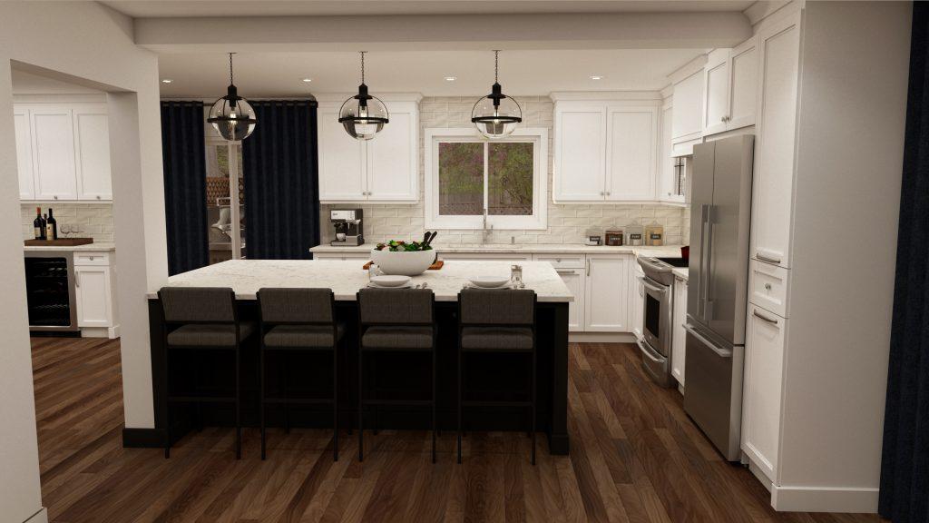 glam kitchen, modern,black cabinets, white cabinets, white, marble, quartz, clear pendants, island, stone hood.j.jpg (2)