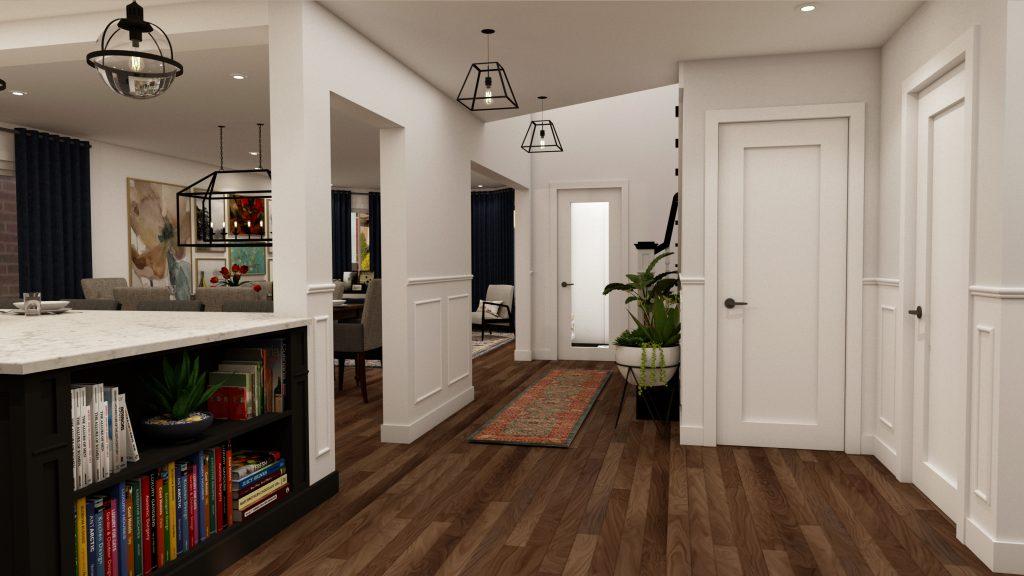 glam kitchen, modern,black cabinets, white cabinets, white, marble, quartz, clear pendants, island, stone hood.j.jpg (3)