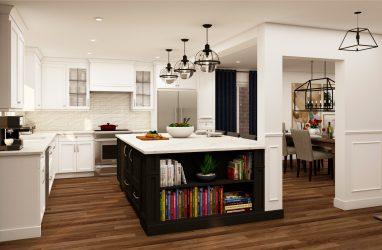 glam kitchen, modern,black cabinets, white cabinets, white, marble, quartz, clear pendants, island, stone hood.j.jpg