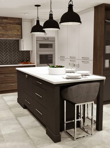 industrial kitchen, herringbone tiles, black and white, black pendants, white counters, walnut finishes