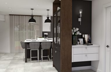 industrial kitchen, herringbone tiles, black and white, black pendants, white counters, walnut finishes.