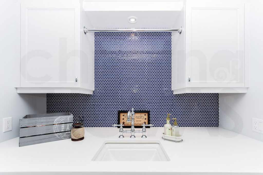 laundry room, farmhouse design, penny round tiles, blue farmhouse bathroom