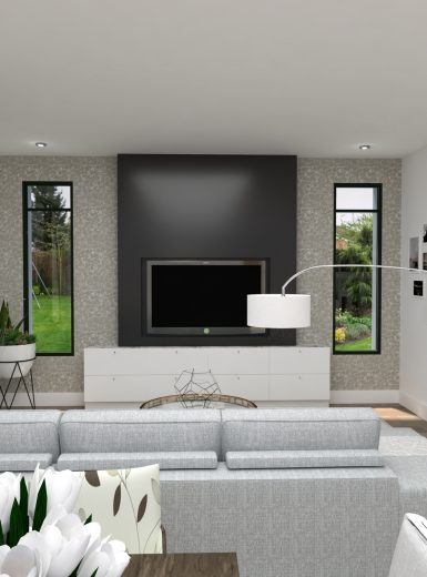 living room, black wall design, cozy living room, contemporay design