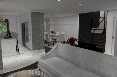 living room design, dining room designs, grey, glass staircase, carrara, glam style, fireplace, wallpaper, black and white, mosaics, decor.