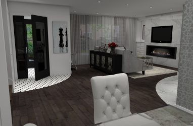 living room design, glam style, fireplace, wallpaper, black and white, mosaics, decor