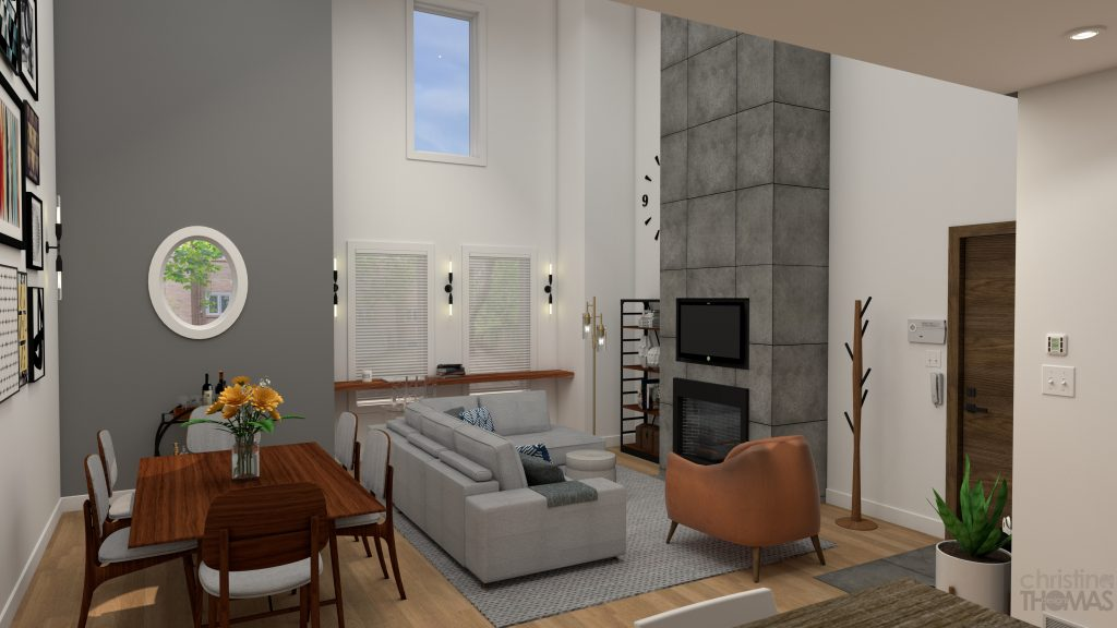 living room, dining room, fireplace, wood, copper, grey designs