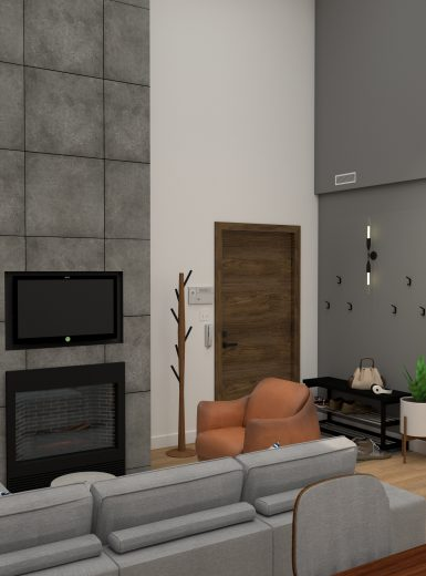 living room, dining room, fireplace, wood, copper, grey designs.jpg