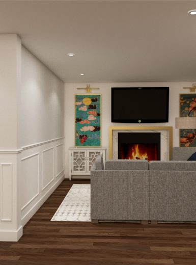 living room, fireplace, art wall design, bar section, nook area