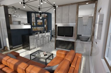 living room, fireplace, industrial design. , bar section, tv room, leather furniture, nook area.jpg