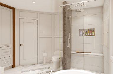 modern bathrooms, glam style bathroom, wainscoting, walnut cabinetry