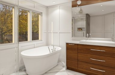 modern bathrooms, glam style bathroom, wainscoting, walnut cabinetry .jpg