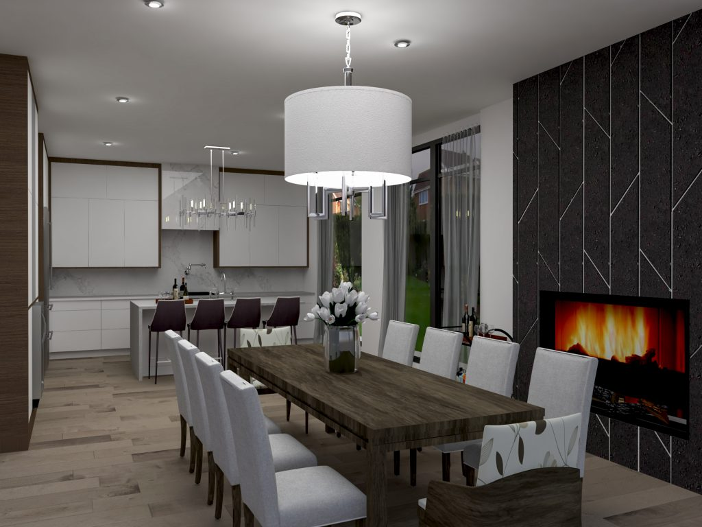 modern, chic, contemporary kitchen, herringbone, black tiles, walnut finishes, fireplace, slate