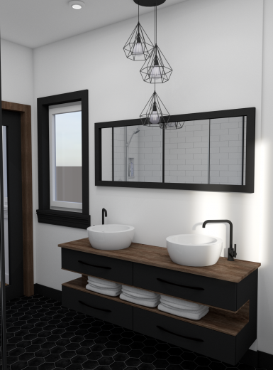 modern industrial bathroom, black and white design (1)